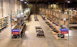 image of warehouse interior showing racks storing ACDelco batteries
